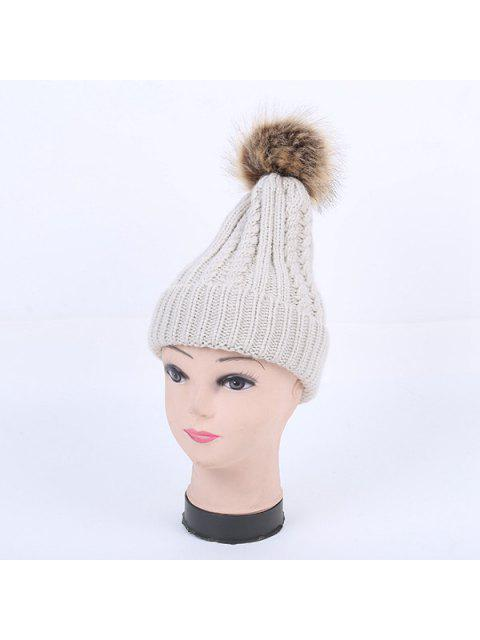 unique Winter Cable Knit Pom Hat - LIGHT GRAY  Mobile