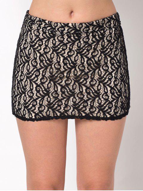 shop Lace Panel Bodycon Mini Skirt - BLACK L Mobile