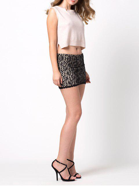 outfit Lace Panel Bodycon Mini Skirt - BLACK 2XL Mobile