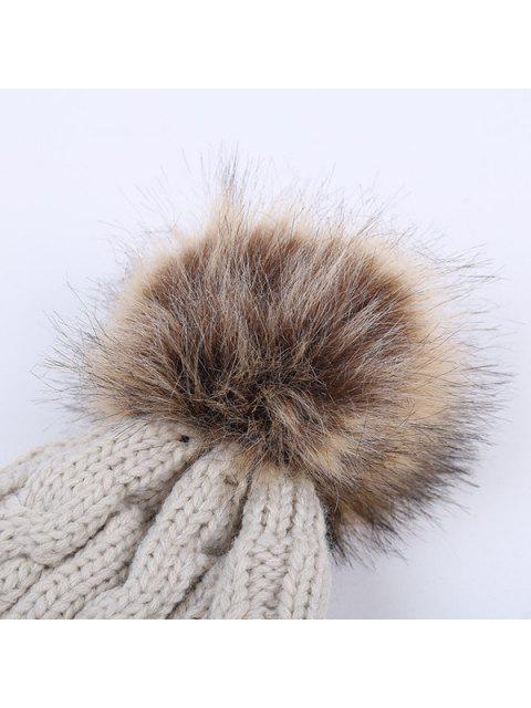 online Winter Stripy Cable Knit Pom Hat - CADETBLUE  Mobile