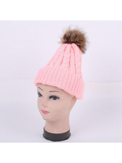 outfit Winter Stripy Cable Knit Pom Hat - PINK  Mobile