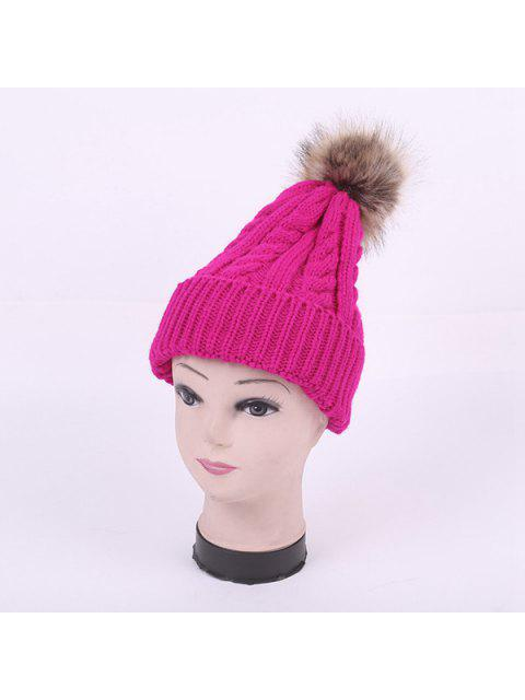 outfits Winter Stripy Cable Knit Pom Hat - BRIGHT PINK  Mobile
