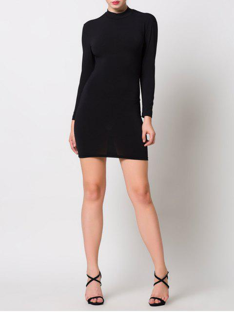 sale High Collar Hollow Out Bodycon Dress - BLACK S Mobile