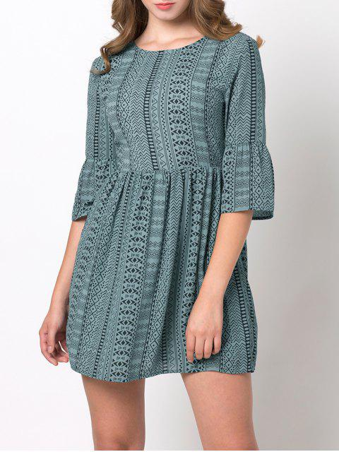 online Flare Sleeve Geometric Mini Dress - GREEN M Mobile