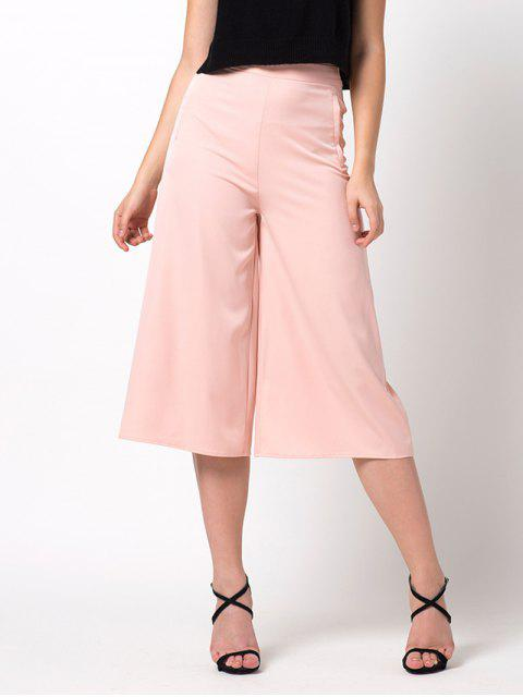 lady Casual Wide Leg Capri Pants - PINK M Mobile