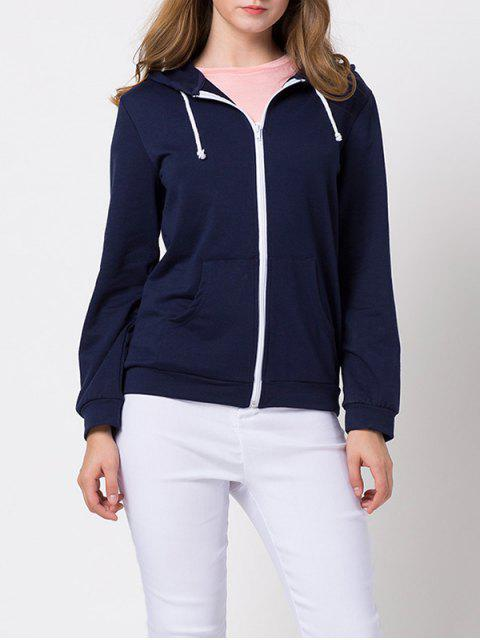 affordable String Zip-Up Hoodie - DEEP BLUE XS Mobile