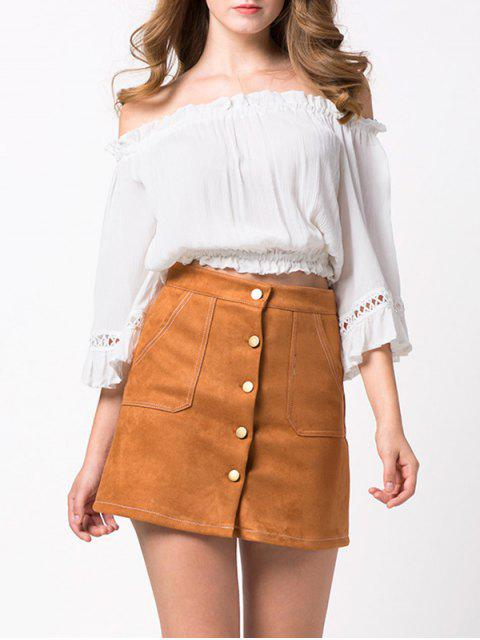 fancy Loose Cropped Off the Shoulder Blouse - WHITE L Mobile