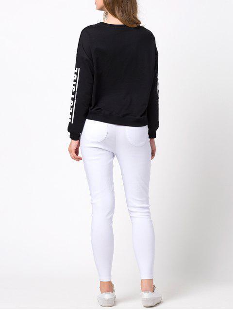 women's Streetwear Printed Sweatshirt - BLACK M Mobile