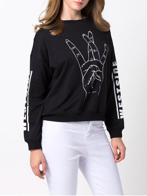 buy Streetwear Printed Sweatshirt - BLACK 2XL Mobile