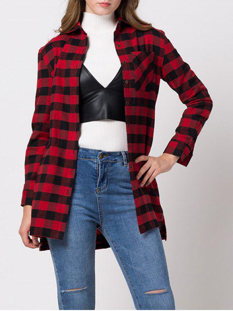 buy Checked High-Low Shirt - RED 2XL Mobile