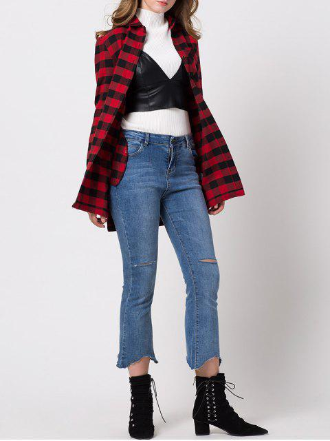 womens Checked High-Low Shirt - RED XL Mobile