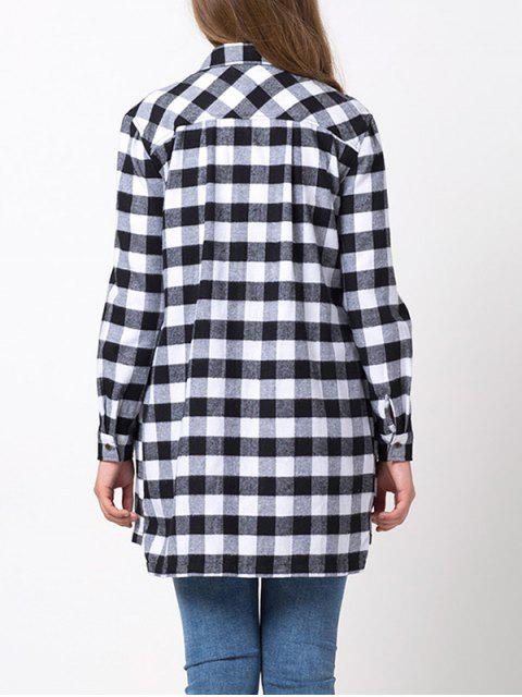 hot Checked High-Low Shirt - WHITE AND BLACK M Mobile