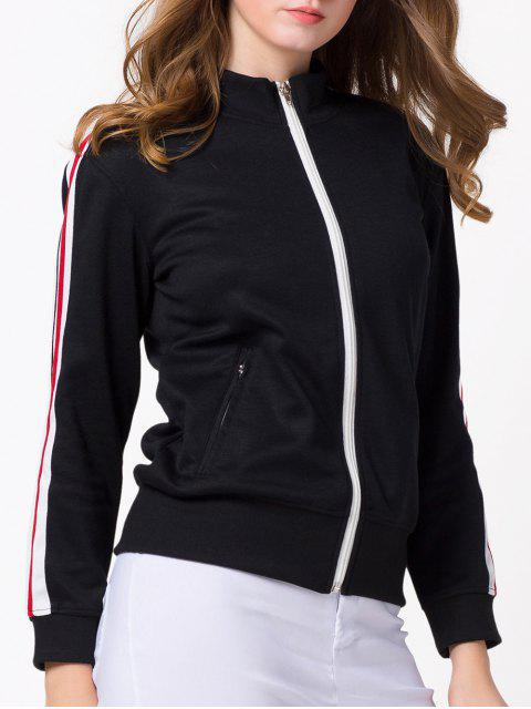 ladies Sports Zip-Up Jacket - BLACK L Mobile