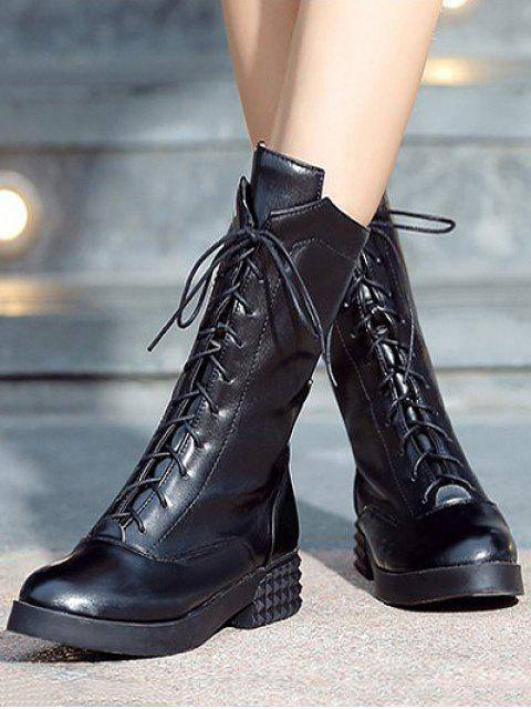 sale Chunky Heel Platform Tie Up Mid-Calf Boots - BLACK 38 Mobile