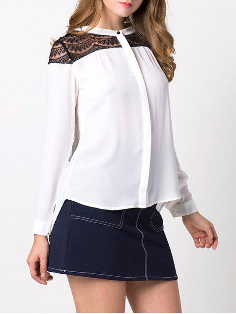 fancy Lace Insert High-Low Blouse - WHITE 2XL Mobile