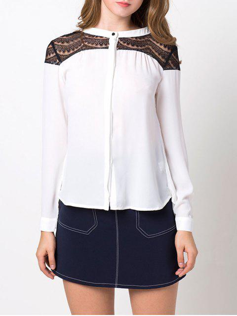 sale Lace Insert High-Low Blouse - WHITE L Mobile