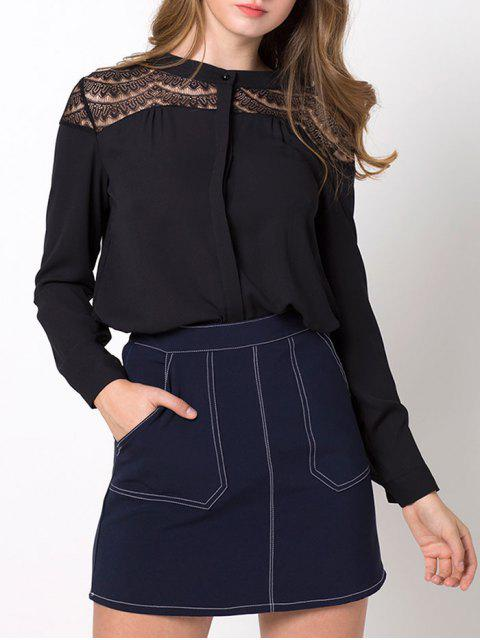 lady Lace Insert High-Low Blouse - BLACK M Mobile
