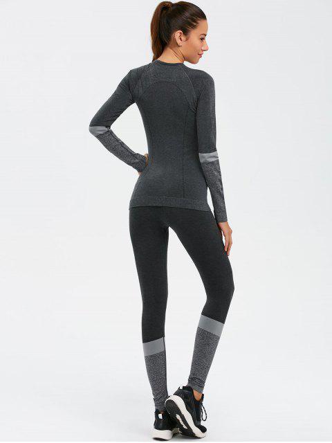latest Slim Fit T-Shirt and Yoga Leggings - DEEP GRAY L Mobile