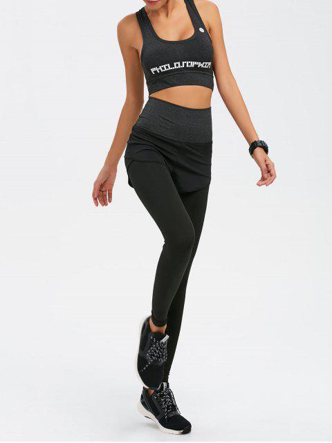 fashion Graphic Print Bra and Bodycon Yoga Leggings - GRAY L Mobile