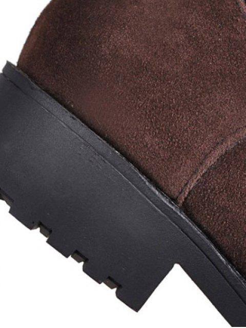 affordable Metal Zipper Knee Double Buckle High Boots - DEEP BROWN 39 Mobile