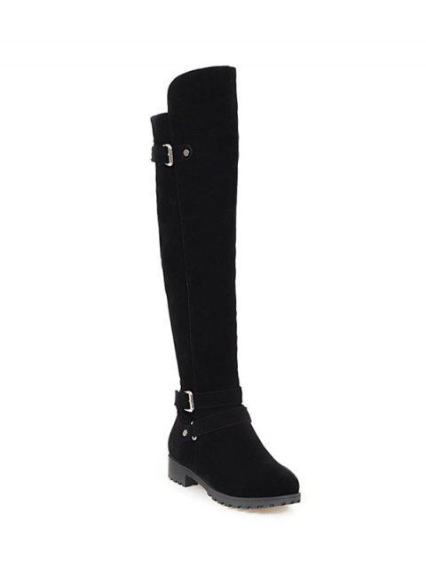 women Metal Zipper Knee Double Buckle High Boots - BLACK 39 Mobile