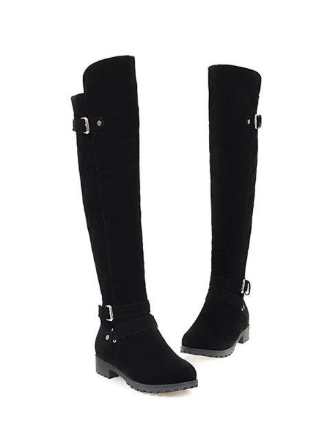 women's Metal Zipper Knee Double Buckle High Boots - BLACK 37 Mobile