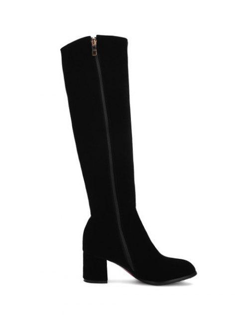 best Zip Chunky Heel Metal Knee High Boots - BLACK 37 Mobile