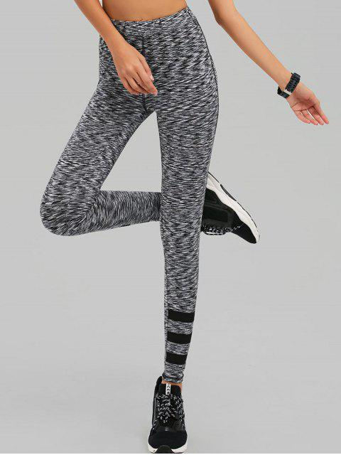 hot Space Dyed Varsity Striped Leggings - WHITE AND BLACK L Mobile