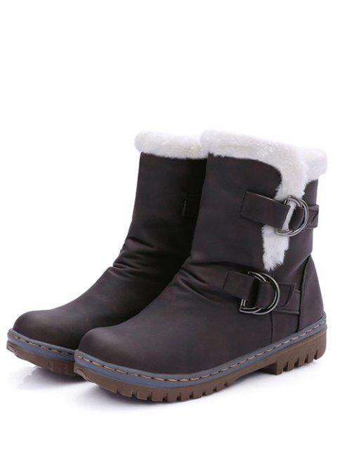 shops Wrinkled Metal Flat Heel Short Boots -   Mobile
