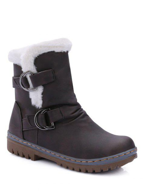 shop Wrinkled Metal Flat Heel Short Boots -   Mobile