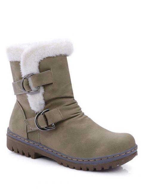 unique Wrinkled Metal Flat Heel Short Boots - KHAKI 38 Mobile