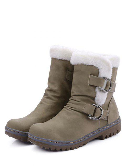 fancy Wrinkled Metal Flat Heel Short Boots - KHAKI 37 Mobile