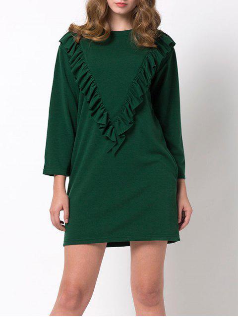 latest Ruffles Long Sleeve Mini Dress - GREEN M Mobile