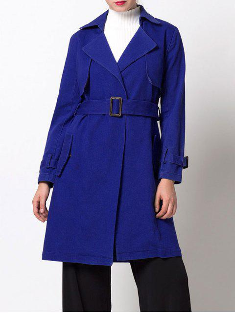unique Skirted Cape Trench Coat - BLUE XS Mobile