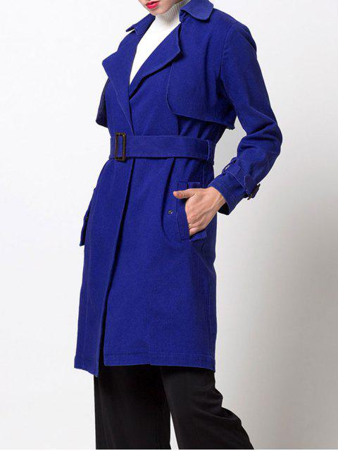 fashion Skirted Cape Trench Coat - BLUE L Mobile
