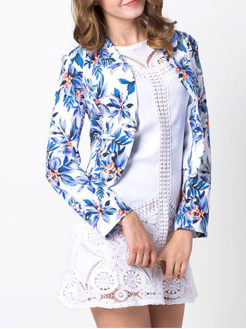 sale Open Front Floral Blazer - BLUE 2XL Mobile