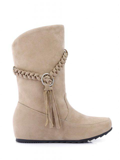 buy Tassels Weave Hidden Wedge Mid Calf Boots - APRICOT 38 Mobile