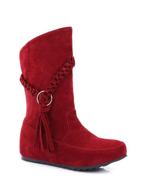 womens Tassels Weave Hidden Wedge Mid Calf Boots - RED 39 Mobile