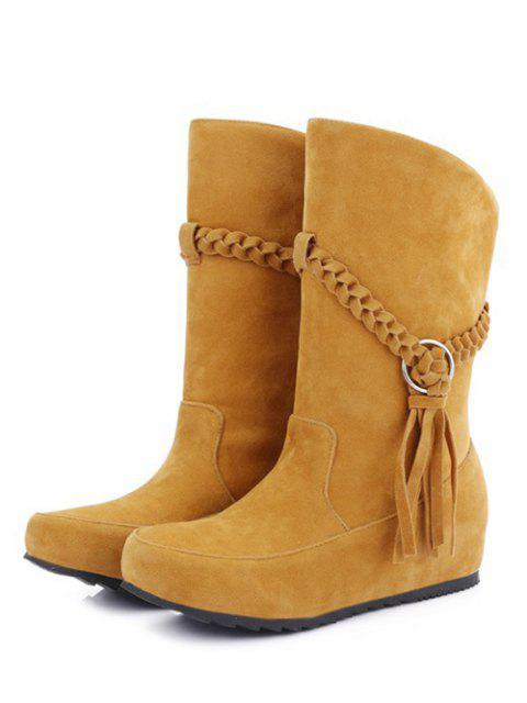 online Tassels Weave Hidden Wedge Mid Calf Boots - DEEP YELLOW 39 Mobile