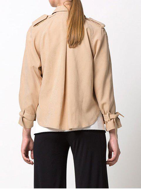 outfit Double-Breasted Duster Jacket - KHAKI L Mobile