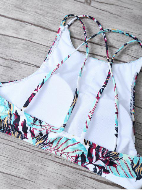 chic Leaf Print Strappy Top Bikini Set - MULTICOLOR S Mobile