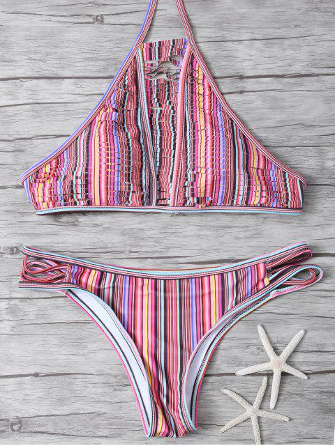 fancy High Neck Striped Split Bikini - MULTICOLOR XL Mobile