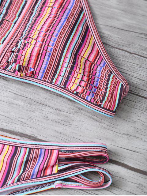 unique High Neck Striped Split Bikini - MULTICOLOR L Mobile