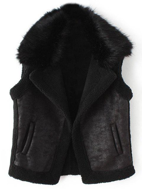 new Detachable Fur Collar Suede Waistcost - BLACK XL Mobile
