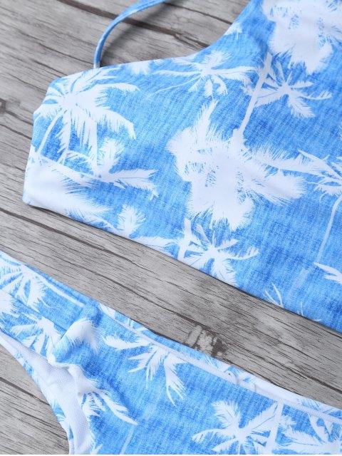 lady Coconut Palm High Neck Bikini Set - BLUE AND WHITE L Mobile