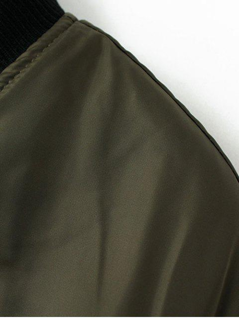 best Stand Neck Padded Bomber Coat - ARMY GREEN L Mobile