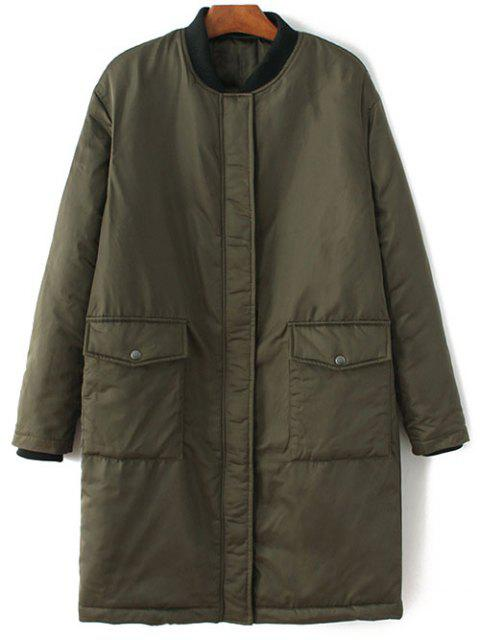 online Stand Neck Padded Bomber Coat - ARMY GREEN M Mobile