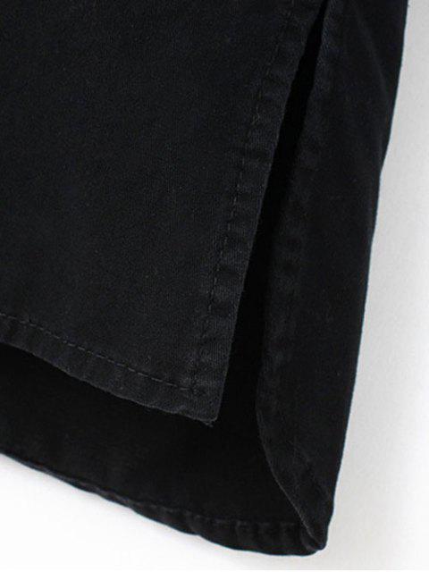 ladies Letter Patch Long Sleeve Denim Shirt - BLACK S Mobile