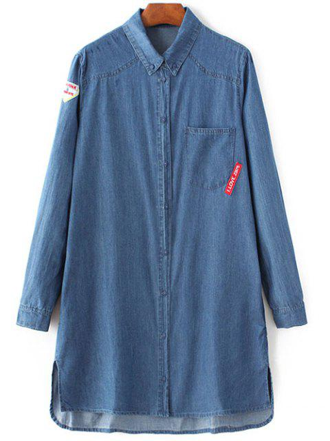 lady Letter Patch Long Sleeve Denim Shirt - BLUE L Mobile