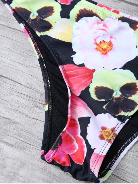 lady Floral Print High Neck Zip Front Bikini - FLORAL S Mobile